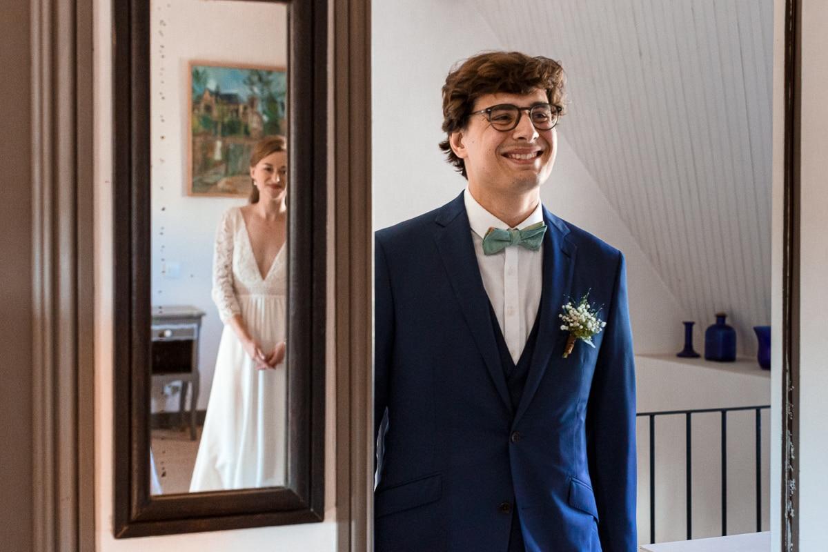 first look, les mariés se découvrent - reportage de mariage au Domaine de Verderonne dans l'Oise
